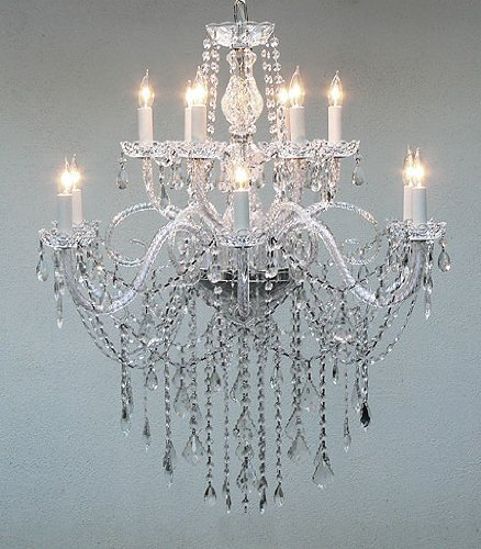 "AUTHENTIC ALL CRYSTAL CHANDELIER H38"" X W32"""