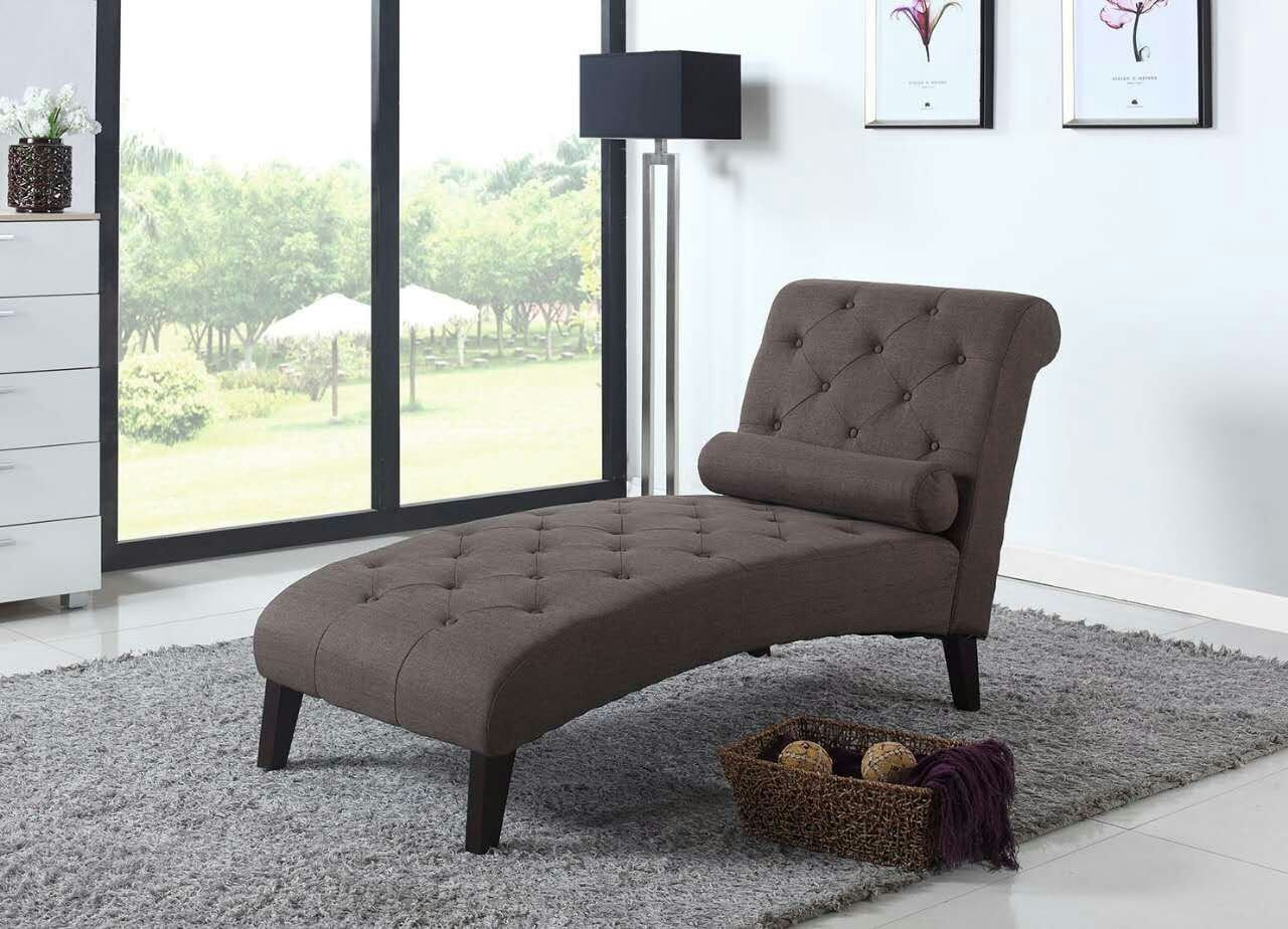 Home Life fur_c10006_brown_19_FBA Light Chocolate Brown Linen Chaise Lounger, Beige