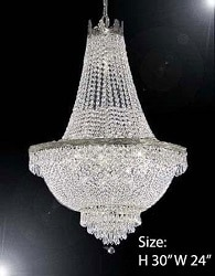 French Empire Crystal Silver Chandelier Lighting